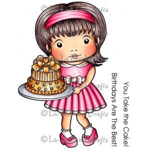 La-La Land Cling Mount Rubber Stamps Birthday Cake Marci