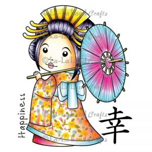 La-La Land Cling Mount Rubber Stamps – Kimono Marci W/Umbrella