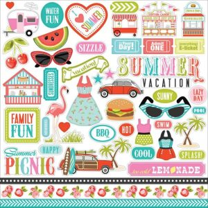 Summer Lovin' Cardstock Stickers 12″X12″