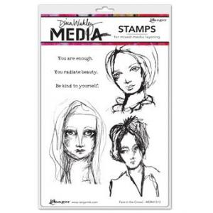 Dina Wakley Media Stamps Face in the Crowd