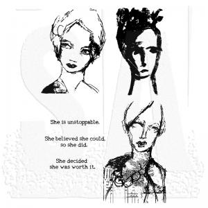 Dina Wakley Media Stamps Scribbly Women
