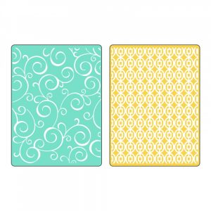 Sizzix Textured Impressions Embossing Folders 2PK – Swirls & Squares in Ovals Set